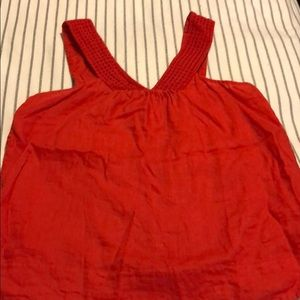 J crew tank top v neck eyelet red tank top size 6
